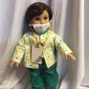 Nurse scrubs with mask,stethoscope,clipboard,